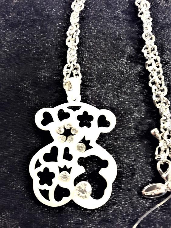 Halsband med Tous Nalle och strass i vitt