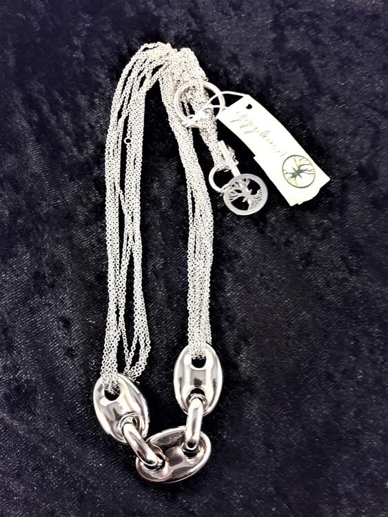 Halsband i Stål med Kedjor Silverfärg