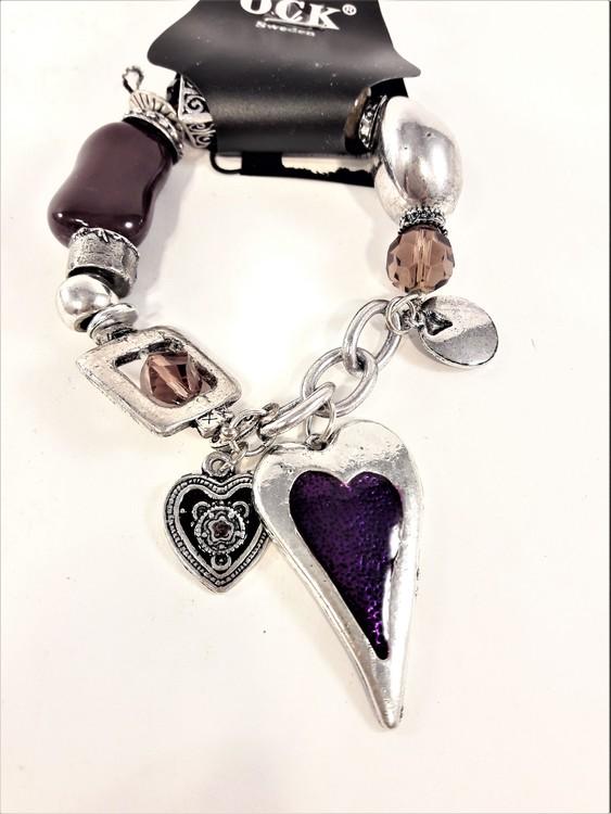 Armband med Hjärta Lila