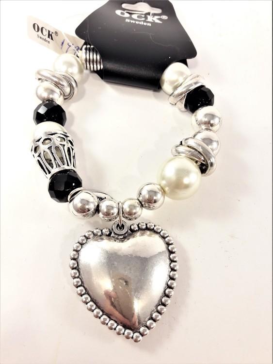 Armband med Hjärta Svart och Silverfärg