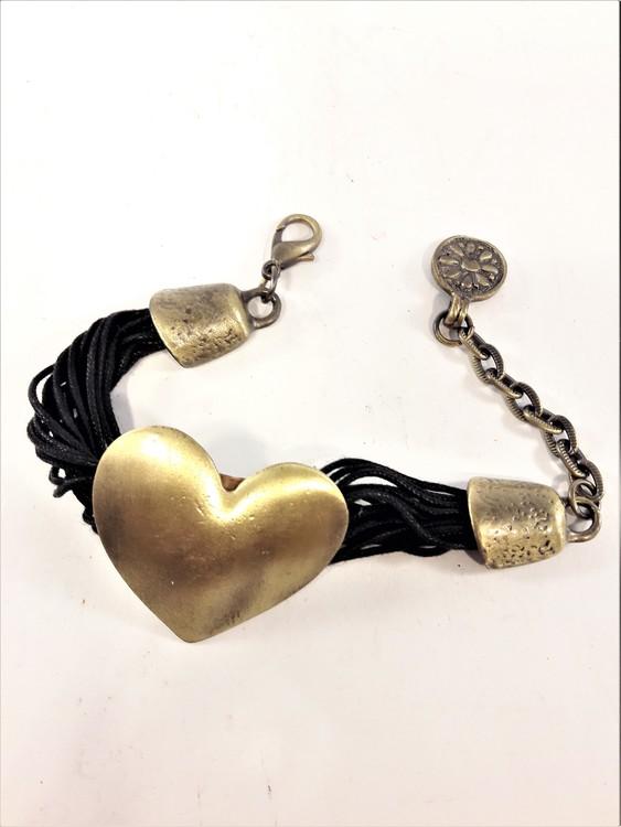 Armband med Svarta Trådar och Guldfärgat Hjärta
