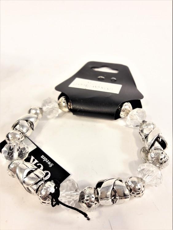 Armband i silverfärg med transparenta stenar