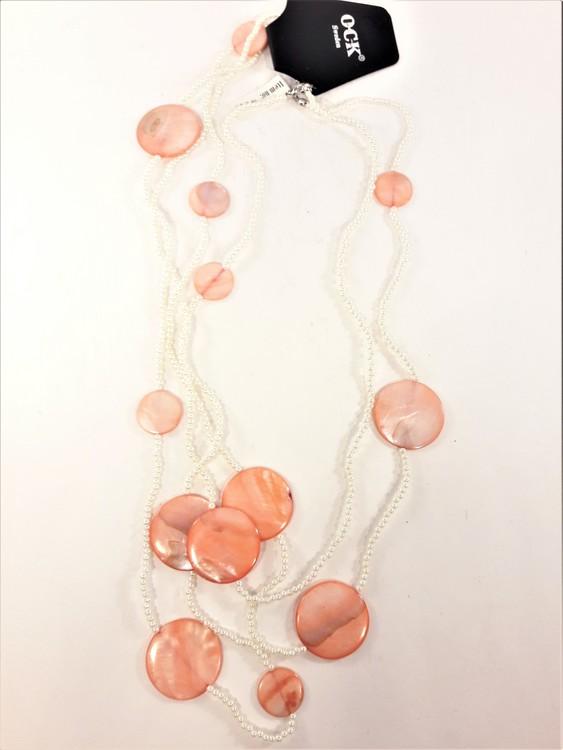 Flerradigt halsband minipärlor och snäckskalsplattor, flera färger