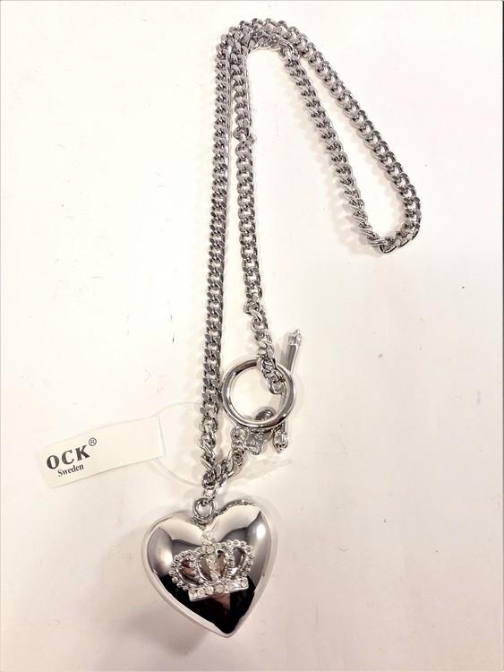 Halsband med hjärta och krona med strass, silverfärg