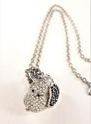 Halsband med Hänge Snobben och Strass Silverfärg
