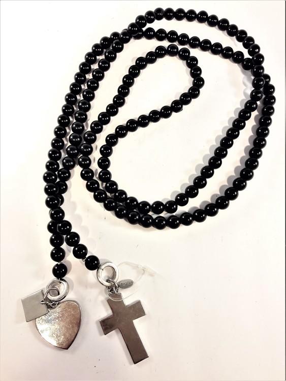 Öppet halsband med pärlor svart och silverfärgade detaljer