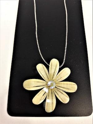 Halsband med blomma och gnistrande sten, vit