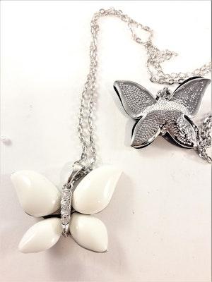 Halsband med vit fjäril och strass