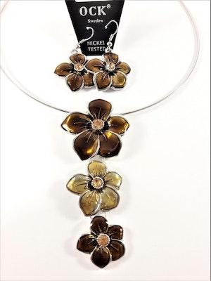 Stelt halsband med hänge av gula blommor samt matchande örhängen