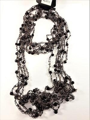 Flerradigt Halsband med Kulor och Pärlor Brun
