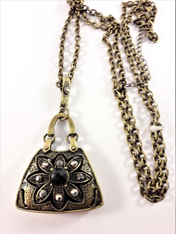 Halsband med Väskformat Hänge och Glittrande Stenar Guldfärg