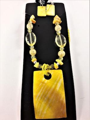 Halsband och örhänge med snäckskal, gul