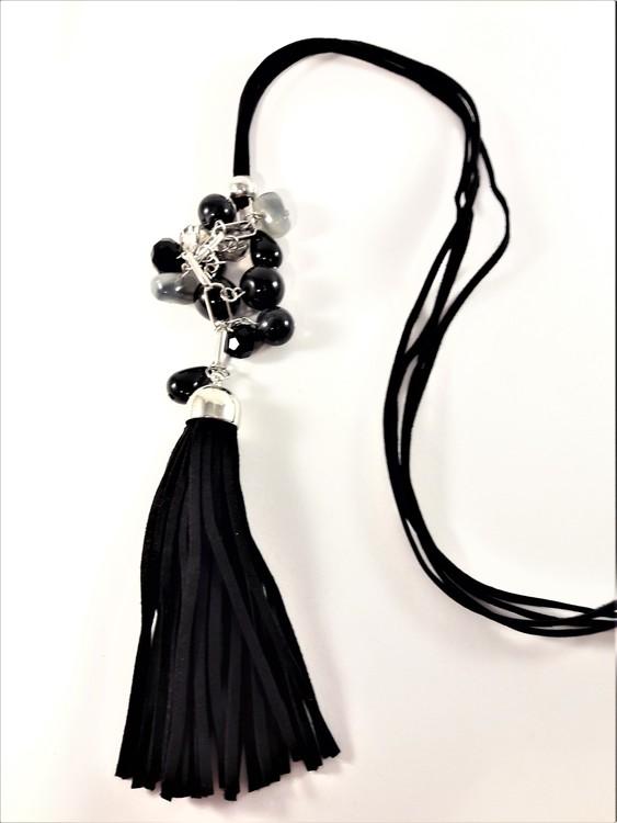 Långt Halsband med Läderrem med Pärlor och Tofs Svart