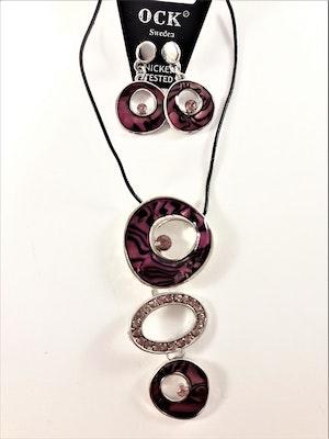 Halsband med strass och lila detaljer samt matchande örhängen