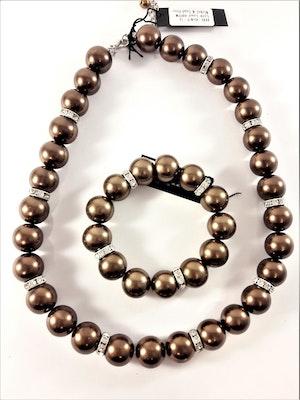 Halsband med bruna kulor och strass med matchande armband