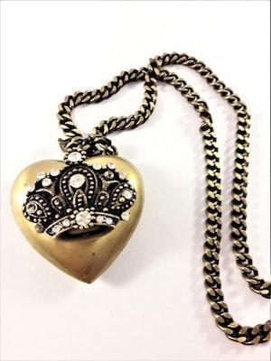 Halsband med hjärta och krona med strass i guldfärg