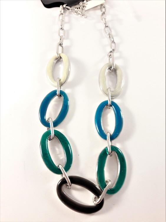 Halsband med länkar i blått