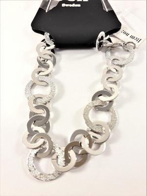 Armband med platta länkar och strass i silverfärg