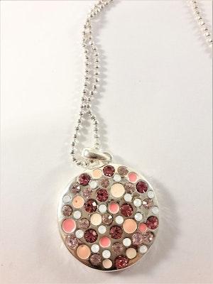 Halsband i silverfärg med rund strassplatta