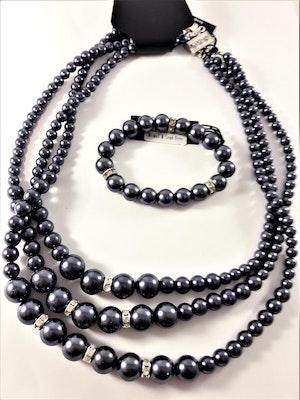 3-radigt halsband med lila kulor och strass med matchande armband