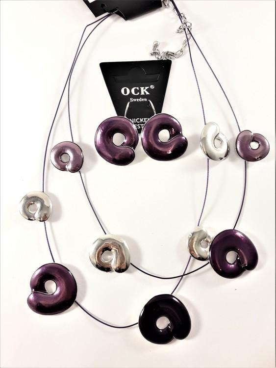 Tvåradigt halsband med detaljer i lila samt matchande örhängen