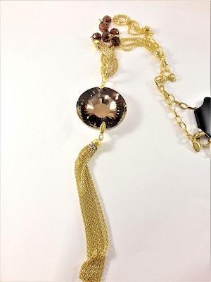 Halsband med Hänge med Glittrande Stor Sten Guldfärg