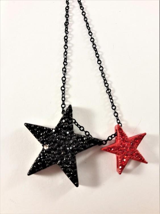 Halsband i svart med 2 glittrande stjärnor i svart och i rött