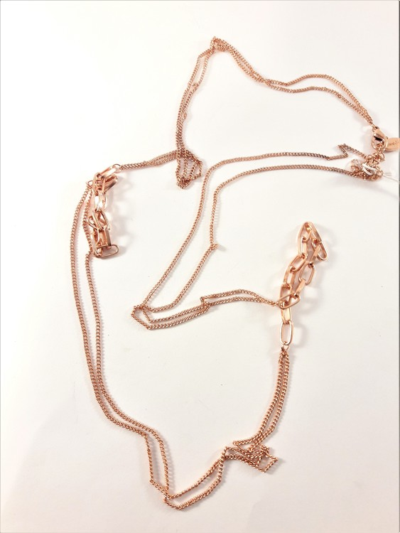 Dubbelt halsband i kopparfärg ca 80 cm