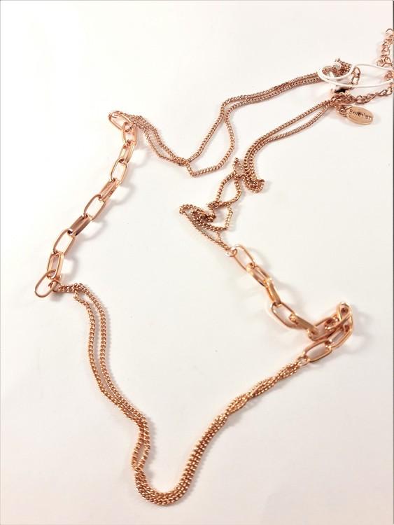 Dubbelt halsband i kopparfärg ca 45 cm