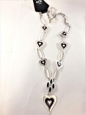 Tungt halsband med hjärtan i silverfärg