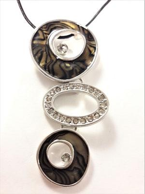 Halsband grå med melerade ringar och strass