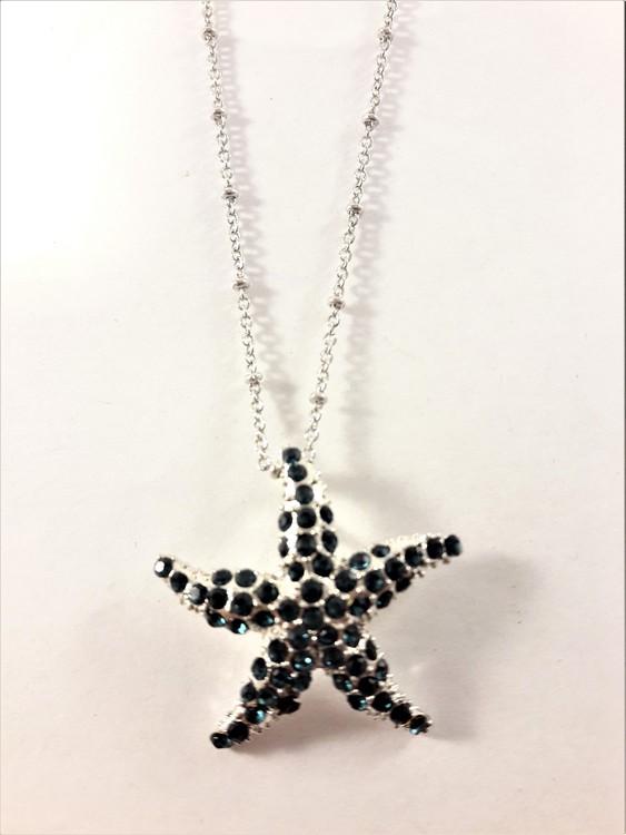 Halsband med sjöstjärna hänge med glittrande blå strass
