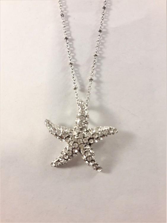 Halskedja med sjöstjärna hänge med glittrande vit strass