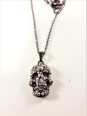 Halsband med Glittrande Dödskalle Grå