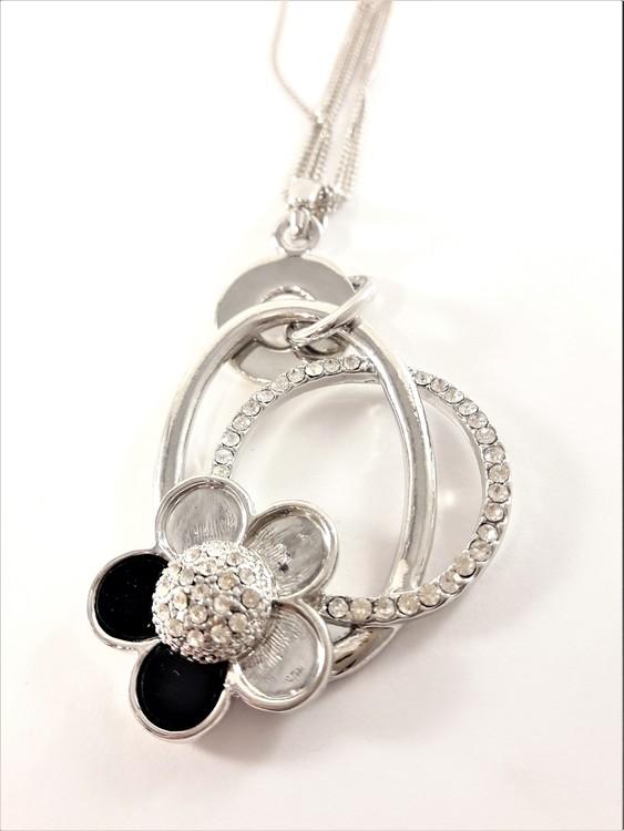 Halskedja med Strassprydd Ring Silverfärg