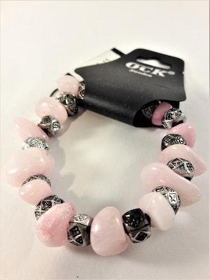 Armband med stenar i rosa och silver