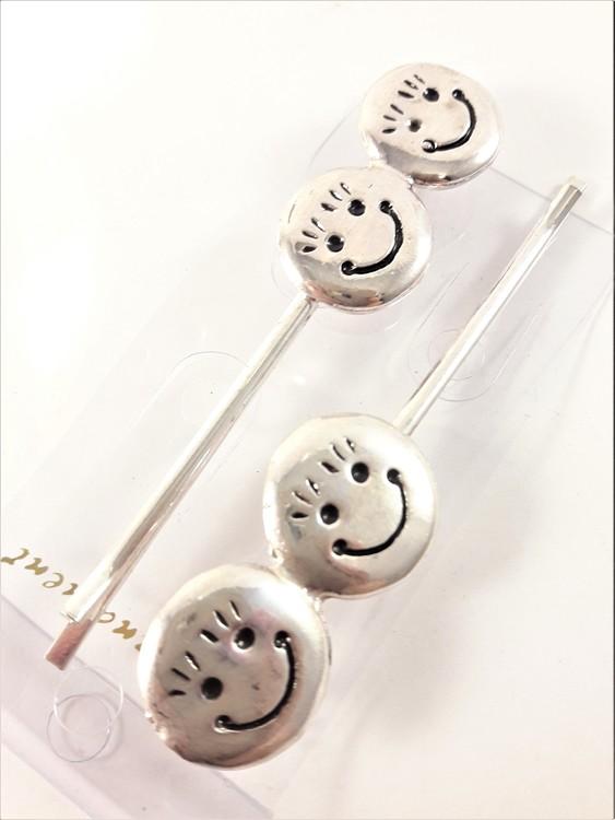 Silverfärgade hårnålar med glada ansikten, 2-pack