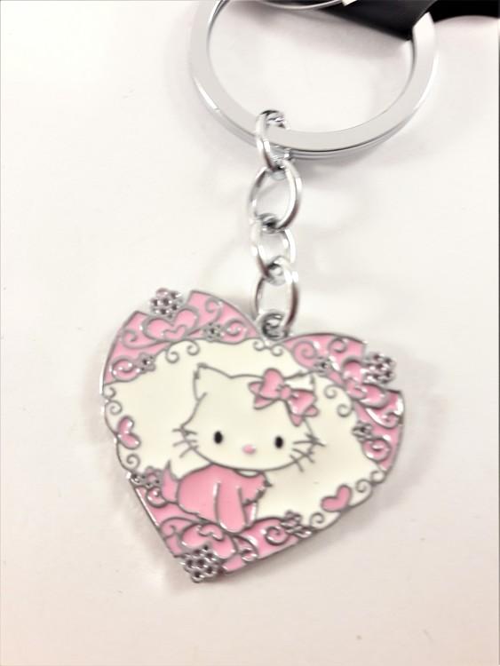 Nyckelring med Hello Kitty-motiv i rosa hjärta - Trollania 4d300b13529ac