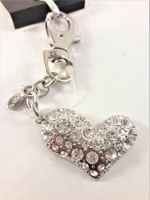 Nyckelring med hjärta med glittrande strass