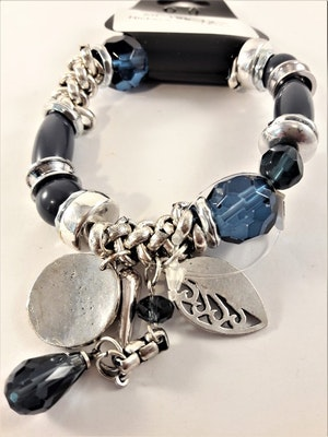Armband med fina detaljer Blå och Silverfärg