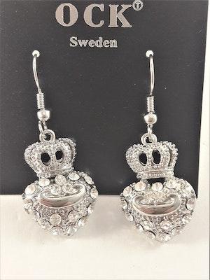 Örhängen med Hjärta, Krona och Strass Silverfärg