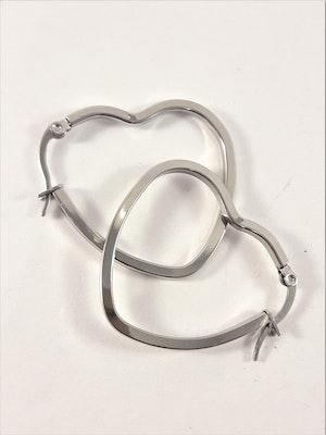 Örhängen i Stål med Stort Hjärta Silverfärg