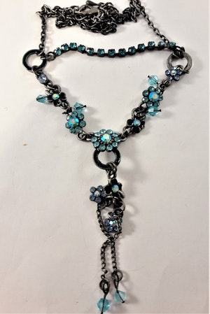 Halsband med Kedja och Blommor med Strass Blå