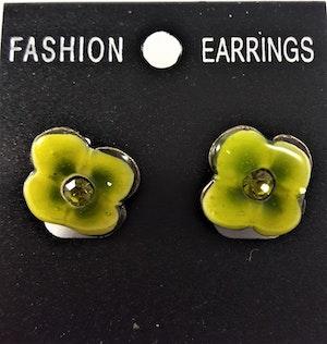 Emaljerade Örhängen i Form av Blomma Ljusgrön