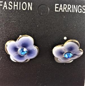 Emaljerade Örhängen i Form av Blomma Blå