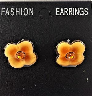 Emaljerade Örhängen i Form av Blomma Orange