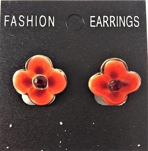 Emaljerade Örhängen i Form av Blomma Röd