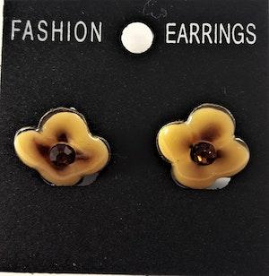 Emaljerade Örhängen i Form av Blomma Gul
