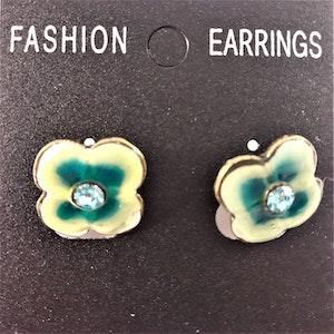 Emaljerade Örhängen i Form av Blomma Grön