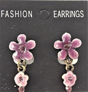 Emaljerade Örhängen i Form av Blommor och Strass Lila
